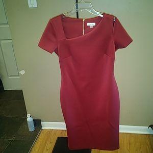Calvin Klein Asymmetric-neck line dress
